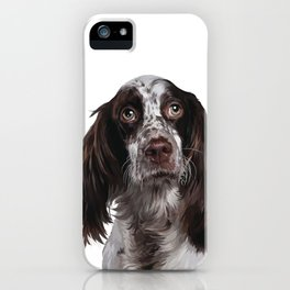 English Springer Spaniel - Puppy Dog Digital Art Illustration iPhone Case