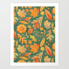 Give Thanks Turquoise Art Print