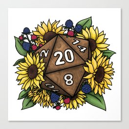 Sunflower D20 Tabletop RPG Gaming Dice Canvas Print