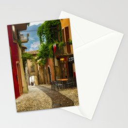 Colorful Street in Malcesine Stationery Cards