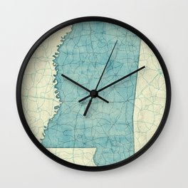 Mississippi State Map Blue Vintage Wall Clock