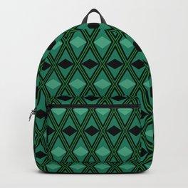 Black and green rhombus geometric pattern Backpack