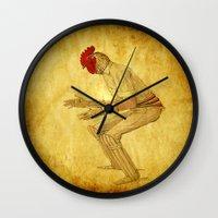 cock Wall Clocks featuring Cricket cock by Joe Ganech