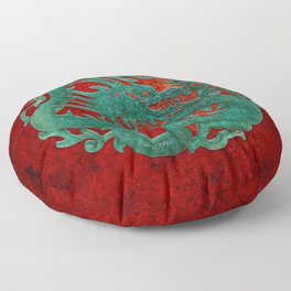 Wooden Jade Dragon Carving on Red Background Floor Pillow
