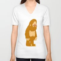 bigfoot V-neck T-shirts featuring bigfoot by gal shkedi