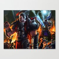 league of legends Canvas Prints featuring Darius- League of Legends by DragonFlamely