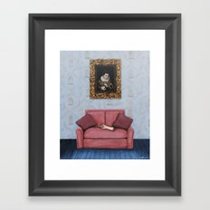 Portrait of a Stymied Lady and her Dog Framed Art Print