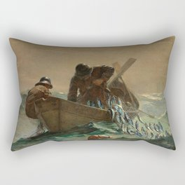 The Herring Net - George's Bank, New England maritime landscape by Winslow H-o-m-e-r Rectangular Pillow