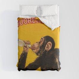 Vintage Anisette Liquor Italian Drinking 'Drunken Monkey' Aperitif Advertisement Poster Duvet Cover