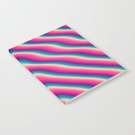 Abstract Color Burn Pattern - Geometric Lines / Optical Illusion in Rainbow Acid Colors Notebook