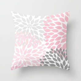 Pink Gray Dahlia Floral Throw Pillow