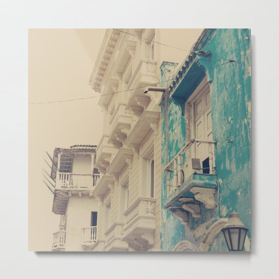 Grunge Summer Town (Retro and Vintage Urban, architecture photography, blue and cream) Metal Print