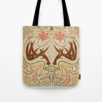 wisconsin Tote Bags featuring Wisconsin Pattern by Kayla Catherine Illustration