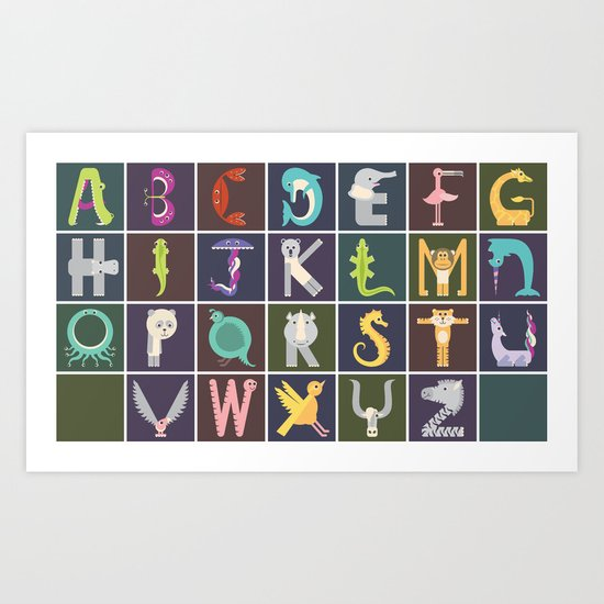 Horizontal Animal Alphabet (Complete Poster) Art Print