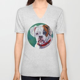 Boxer Dog Portrait Unisex V-Neck