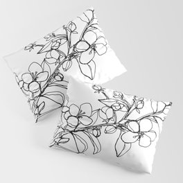 Apple Blossoms, A Continuous Line Drawing Pillow Sham