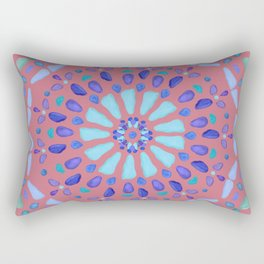 Sea Glass Mosaic Sun Burst Coral Rectangular Pillow