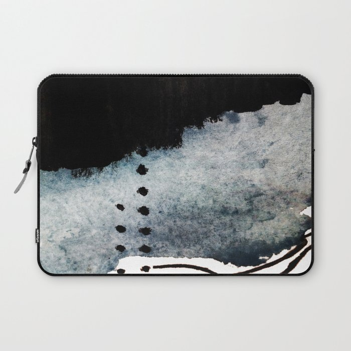 Closer - a black, blue, and white abstract piece Laptop Sleeve
