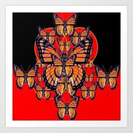 ABSTRACT BLACK-RED MONARCH BUTTERFLIES ART Art Print