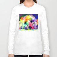 yorkie Long Sleeve T-shirts featuring Colorful Yorkie By Annie Zeno  by Annie Zeno