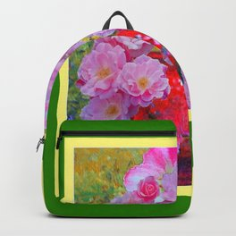 PINK GARDEN FLORALS IN RED VASE GREEN FRAME Backpack