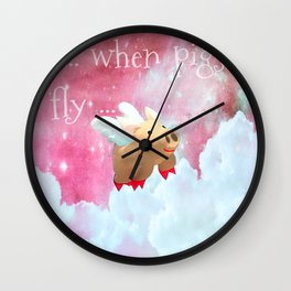 When Pigs Fly - Pink Sky Wall Clock