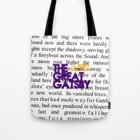 fitzgerald Tote Bags featuring The Great Gatsby - F. Scott Fitzgerald / Book Cover Art Poster  by FunnyFaceArt