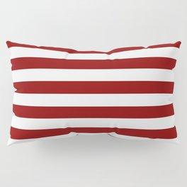 Narrow Horizontal Stripes - White and Dark Red Pillow Sham