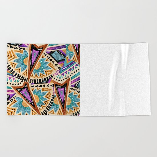 Tribal Folk Icon Beach Towel