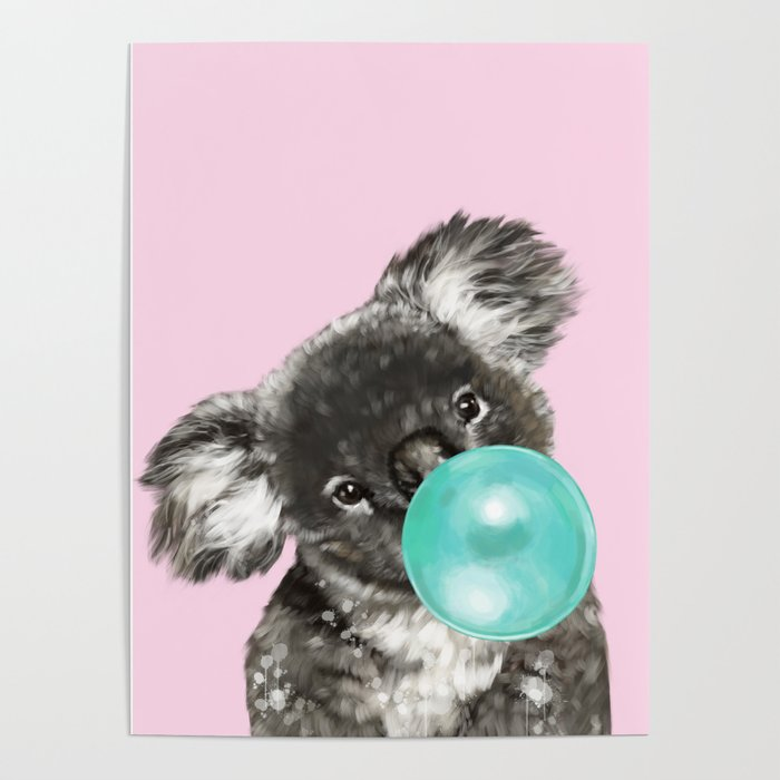 Playful Koala Bear with Bubble Gum in Pink Poster