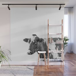 Cow Photography Animal Art | Minimalism black and white | black-and-white | Peek-a-boo Wall Mural