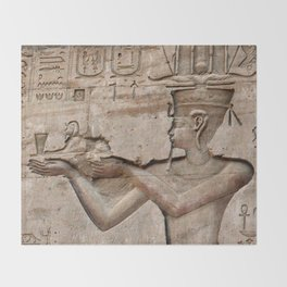 Horus and Temple of Edfu Throw Blanket
