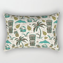 Tiki Party - Ivory Aqua Rectangular Pillow