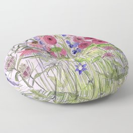 Watercolor Wildflower Garden Flowers Hollyhock Teasel Butterfly Bush Blue Sky Floor Pillow