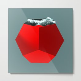 Mountain landscape on red dodecahedron Metal Print