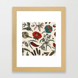 Pattern from field flowers and herbs Framed Art Print