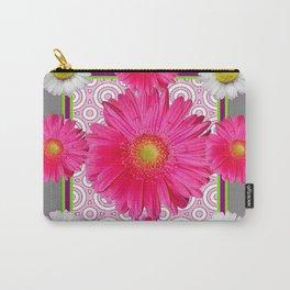 Fuchsia Gerbera & Shasta Daisy  Pink-Grey Pattern Art Carry-All Pouch