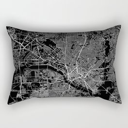 Dallas Black Map Rectangular Pillow