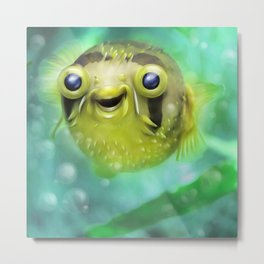 Friendly little pufferfish Metal Print