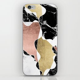 Modern white black marble rose gold foil color block handdrawn geometric lines iPhone Skin