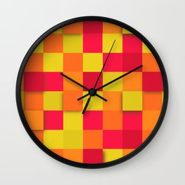 Squares Colorful Geometric Background Wall Clock
