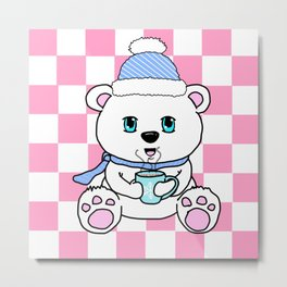 Polar Bear Drinking Hot Chocolate Metal Print