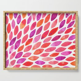 Watercolor brush strokes burst - pink and purple Serving Tray