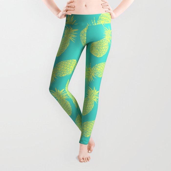 Pineapple Pattern - Turquoise & Lemon Leggings