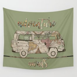 adventure awaits world map design Wall Tapestry
