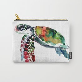 Sea Turtle Olive green, Sage green, Purple Turtle artwork Carry-All Pouch