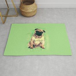 Cute Pug dog on gentle green Rug