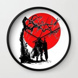 Samurai sun Wall Clock