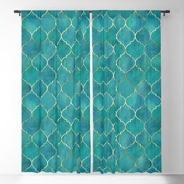 Teal and gold texture Moroccan style pattern Blackout Curtain
