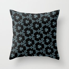 Dark abstract pattern. Fancy flowers. Throw Pillow